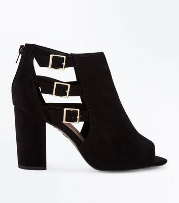 Wide Fit Black Comfort Suedette Triple Buckle Heels New Look