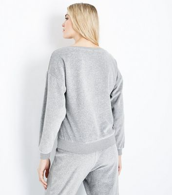 Grey Velour Slogan Embroidered Pyjama Sweatshirt New Look