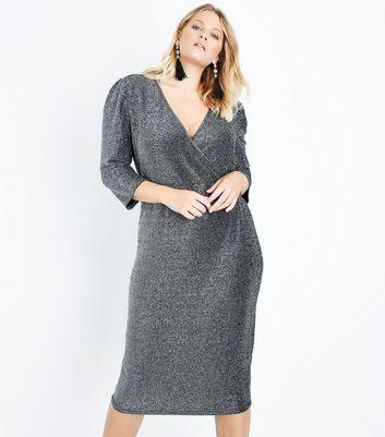 Curves Silver Glitter Wrap Front Midi Dress New Look
