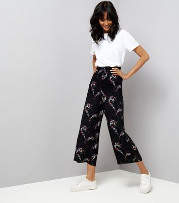 Black Floral Jacquard Cropped Trousers New Look