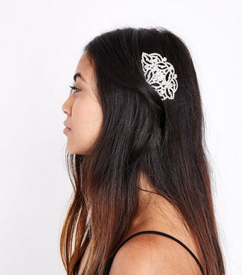 Silver Embellished Hair Comb New Look