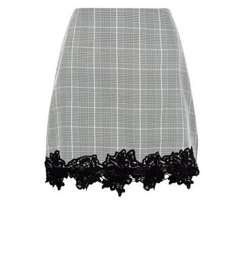 Cameo Rose Grey Check Lace Hem Skirt New Look