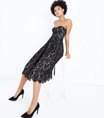 Black Premium Lace Bandeau Midi Dress New Look