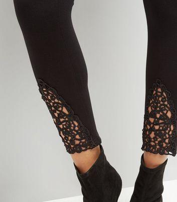 Cameo Rose Black Crochet Side Leggings New Look