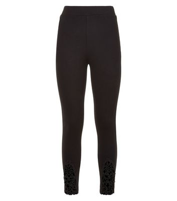 Cameo Rose Black Crochet Panel Leggings New Look