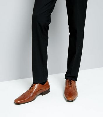Tan Leather Contrast Inner Brogues New Look