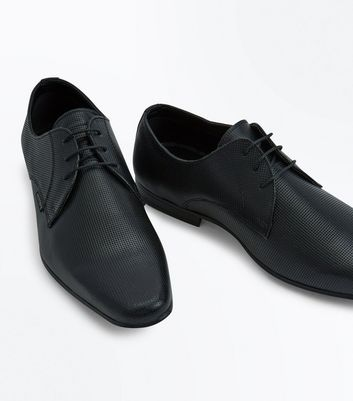 Black Perforated Leather Lace Up Shoes New Look