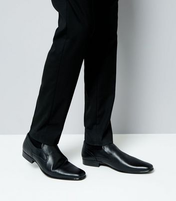 Black Perforated Leather Loafers New Look
