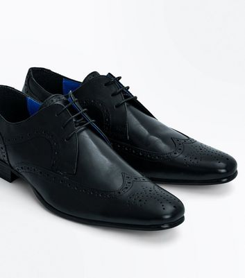 Black Leather Contrast Inner Brogues New Look