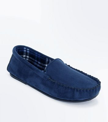 Navy Moccasin Slippers New Look