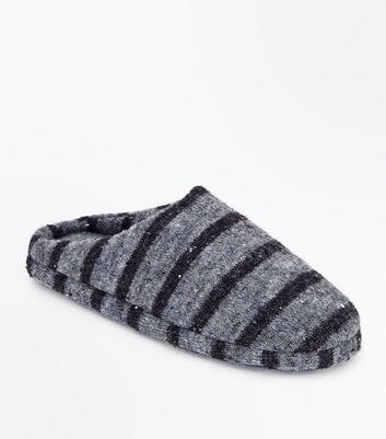 Black Stripe Mule Slippers New Look