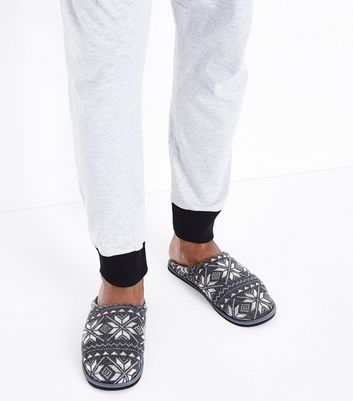 Grey Fair Isle Print Mule Slippers New Look