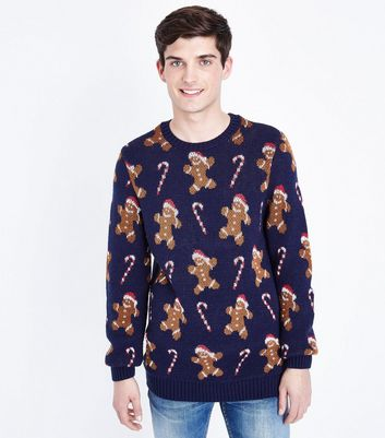 Navy Gingerbread Man Christmas Jumper New Look