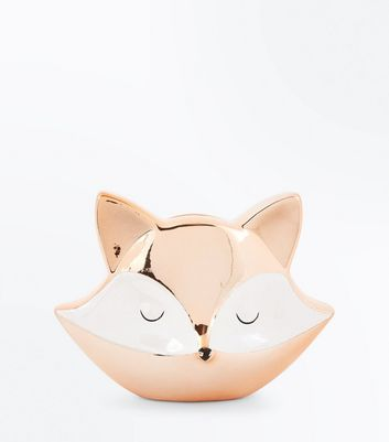 Rose Gold Fox Money Box New Look