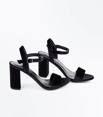 Black Velvet Block Heel Sandals New Look