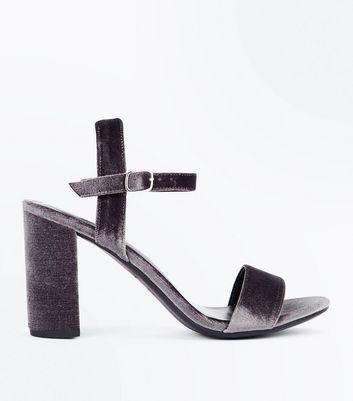 Grey Velvet Block Heel Sandals New Look