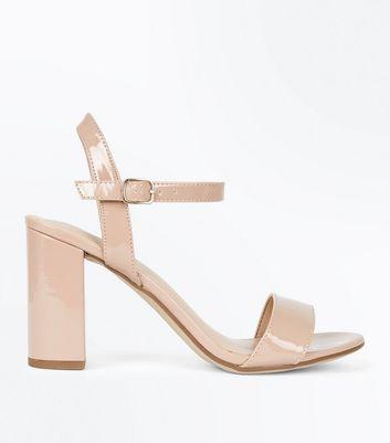 Nude Patent Block Heel Sandals | New Look