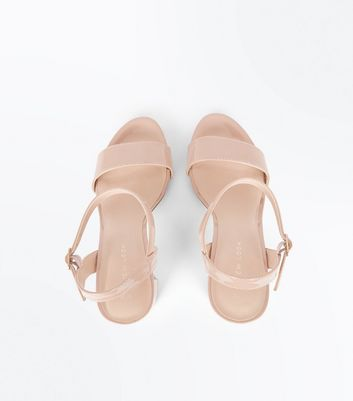 Nude Patent Block Heel Sandals New Look