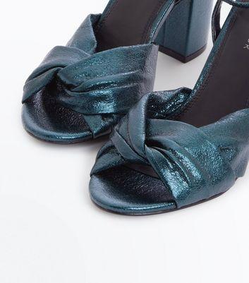 Dark Green Metallic Twist Front Block Heels New Look