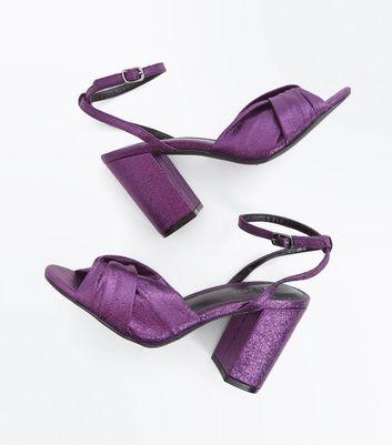 Dark Purple Metallic Twist Front Block Heels New Look