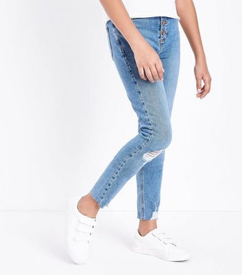 Teens Blue Ripped Button Front Skinny Jeans New Look