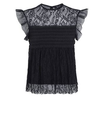Teens Black Lace Cap Sleeve Shirred Top New Look