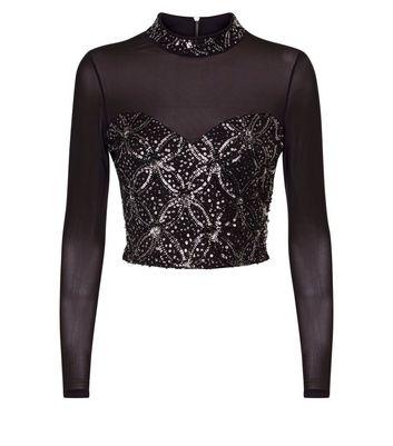 Black Mesh Sequin Embellished Crop Top New Look