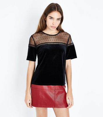 Black Velvet and Lace Yoke Top New Look