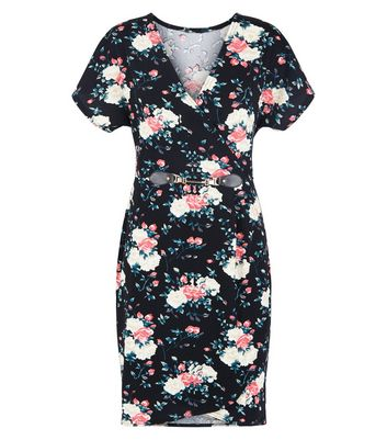 Blue Vanilla Black Floral Clasp Front Dress New Look