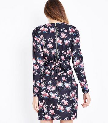 Blue Vanilla Black Floral Print Dress New Look