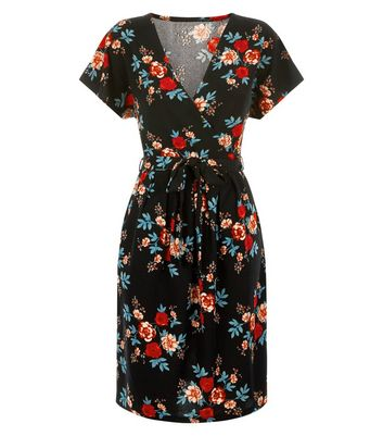 Blue Vanilla Black Floral Print Wrap Dress New Look