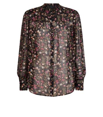 Black Floral Chiffon Blouse New Look