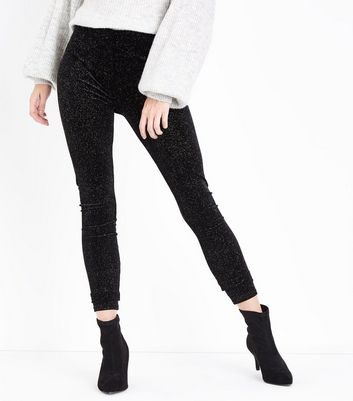 Black Glitter Velvet Leggings New Look