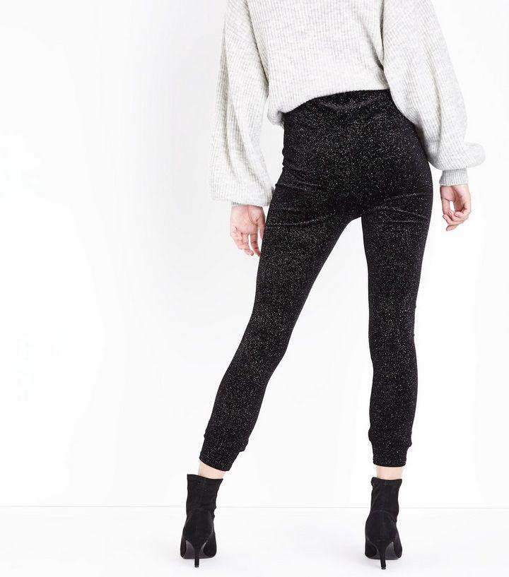 ae286e544f585 Black Glitter Velvet Leggings | New Look