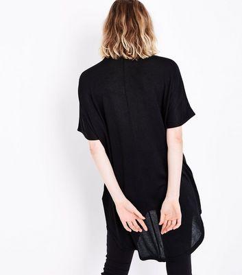 Black Dip Hem Choker Neck T-Shirt New Look