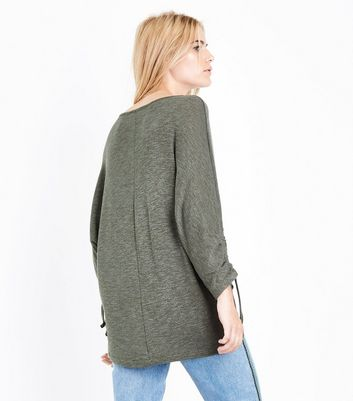 Khaki Ruche Sleeve Longline Top New Look