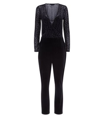 Black Leopard Print Burnout Velvet Jumpsuit New Look
