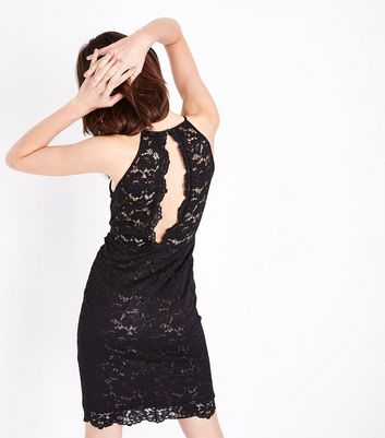 Black Lace High Neck Mesh Front Bodycon Dress New Look