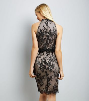 Black Lace High Neck Bodycon Dress New Look