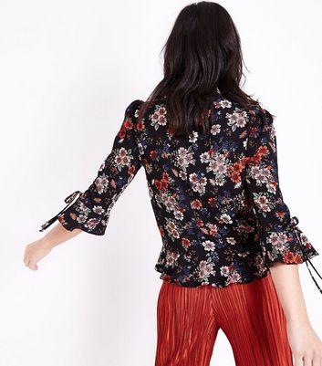 Black Floral Frill Front Lace Trim Top New Look