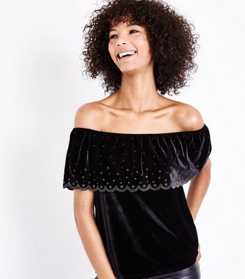 Black Diamanté Scallop Trim Velvet Bardot Top