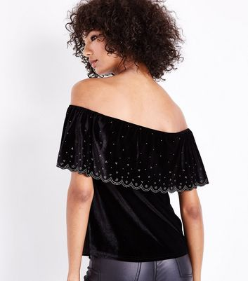 Black Diamante Scallop Trim Velvet Bardot Top New Look