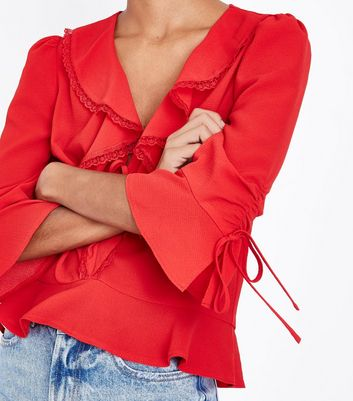 Red Frill Front Lace Trim Peplum Top New Look
