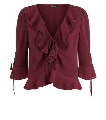 Burgundy Frill Lace Lace Trim Peplum Top New Look