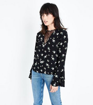 Black Floral Lace Panel Bell Sleeve Top New Look