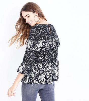 Black Floral Contrast Frill Trim Top New Look
