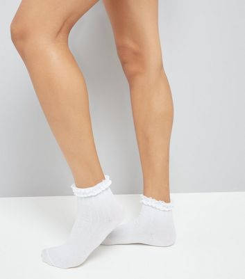 White Frill Trim Cable Knit Ankle Socks New Look