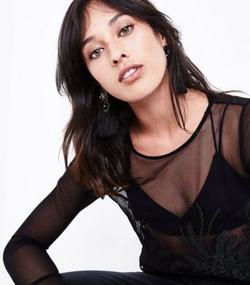 Black Mesh Floral Embroidered Crop Top New Look