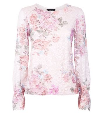 Pink Floral Print Lace Shirred Cuff Top New Look