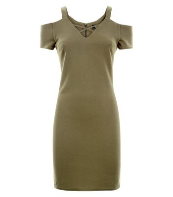 Teens Khaki Cross Front Cold Shoulder Bodycon Dress New Look
